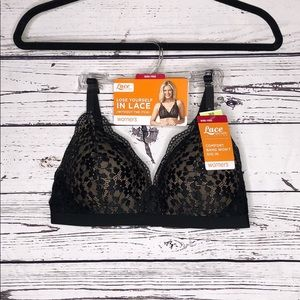 Warner's Lace Escape NWT 36B Black Wire-Free Bra